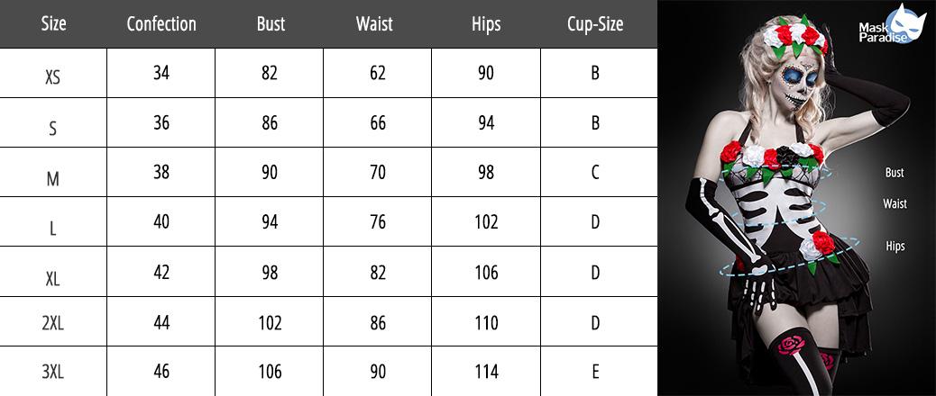 Size Chart Grid Mask Paradise _ENGL
